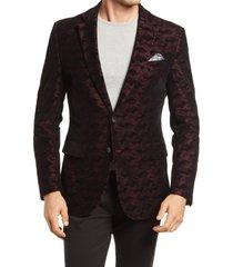 men's robert graham hoyle classic fit camo velvet dinner jacket, size 46 - red