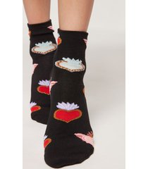 calzedonia mexican style ankle socks woman black size tu