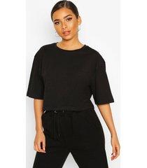 petite cropped cotton t-shirt, black