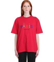 balenciaga t-shirt in red cotton