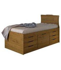 cama cômoda florença solteiro carvalho rústico conquista móveis
