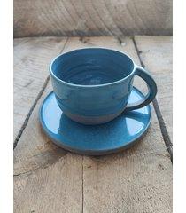 ceramiczny zestaw kubek + talerz ocean blue