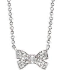14k white gold & diamond bow pendant necklace