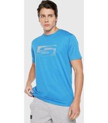 camiseta azul turquesa skechers 162-38627dd