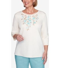 alfred dunner three quarter sleeve floral applique knit top
