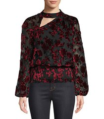 gavin shirred velvet floral blouse