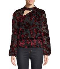 gavin shirred velvet floral blouse
