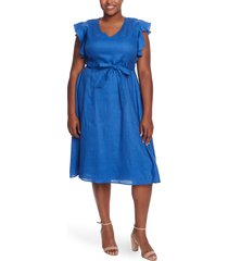 plus size women's cece flutter sleeve belted linen dress, size 22w - blue