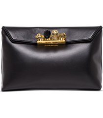alexander mcqueen four rings pouch in black leather