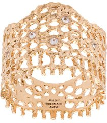 aurelie bidermann 18kt yellow gold & diamond lace ring - metallic