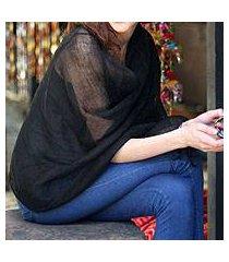linen shawl, 'sheer ebony' (india)