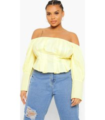 plus off shoulder peplum top met pofmouwen, lemon