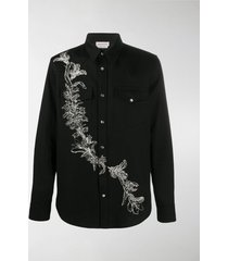 alexander mcqueen embroidered denim shirt