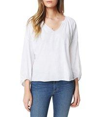 joe's jeans women's drop shoulder blouson sleeve top - white - size l