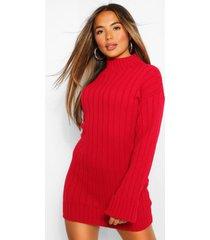 petite oversized ribgebreide trui-jurk, rood