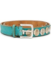 golden goose studded leather belt - blue