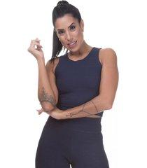 regata cropped bandagem miss blessed premiumâazul escuro - azul marinho - feminino - viscose - dafiti