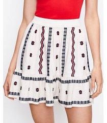 loft petite embroidered pull on skirt