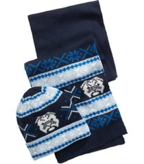 club room men's bulldog hat & scarf set, created for macy's