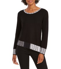 nic+zoe stand out sweater, size x-large in black multi at nordstrom