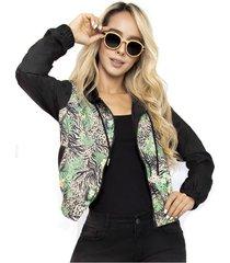 chaqueta estampada flores para mujer - saramanta classic-verde