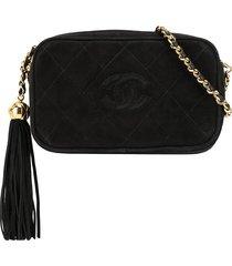 chanel pre-owned 1992 cc tassel shoulder bag - black