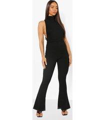 strakke geribbelde mouwloze jumpsuit met wijde pijpen, black
