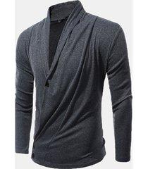 maglione manica lunga abbottonatura collo sciallato collo tinta unita drappeggiato profondo pieghettato maglia uomo