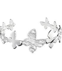 bracciale bangle small farfalle in ottone rodiato e glitter per donna
