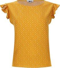 blusa print flores color amarillo, talla l