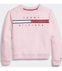 tommy hilfiger girl's adaptive stripe sweatshirt pink lady - xl