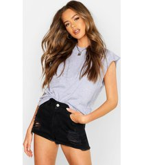 basic cap sleeve rib neck t-shirt, grey marl