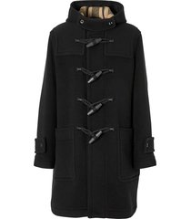 burberry check-lined duffle coat - black