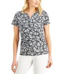 karen scott butterfly print split-neck top, created for macy's
