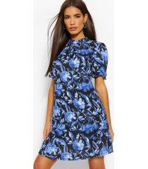 floral high neck dress, black