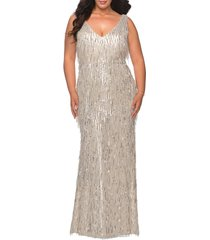 plus size women's la femme sequin trumpet gown, size 14w - grey