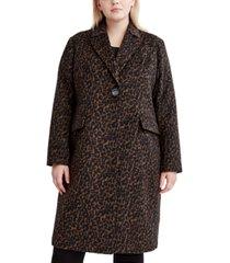tahari plus size leopard-print walker coat, created for macy's