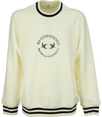 brunello cucinelli comfort cotton french terry sweatshirt with striped details and embroidery