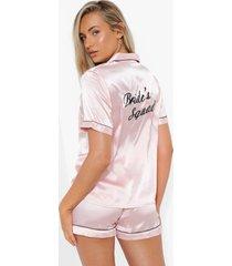 satijnen geborduurde bride's squad pyjama set met shorts, rose gold