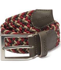 cinturón trenzado combinado rojo, negro y beige doshka