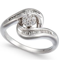 diamond swirl cluster promise ring (1/4 ct. t.w.) in sterling silver