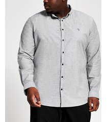 river island mens big & tall grey slim fit oxford shirt