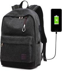 mochila con puerto externo de usb y audifonos para unisexo-negro
