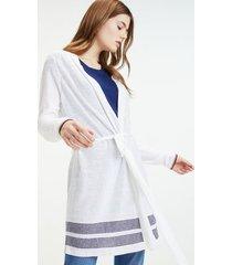 tommy hilfiger women's linen mix flyaway cardigan classic white - xs