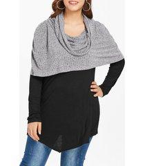 plus size cowl neck splicing longline hooded sweater