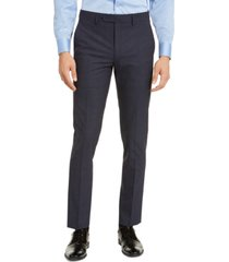 calvin klein men's skinny-fit infinite stretch navy check dress pants