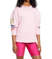 women's bp. oversize crewneck sweatshirt, size xx-small - pink