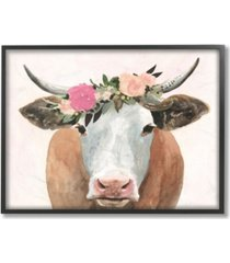 "stupell industries home decor collection springtime flower crown farm cow with horns framed giclee art 11"" l x 1.5"" w x 14"" h"