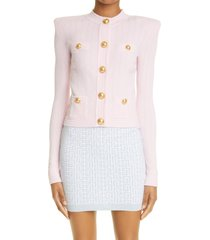 balmain rib cardigan, size 12 us in pale pink at nordstrom