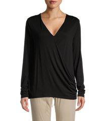 bobeau women's long-sleeve flared shirt - black - size xxs
